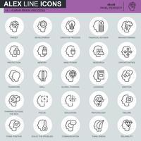 Ícones de processo, características e emoções do cérebro humano linha fina definido para site, site móvel e apps. Contém ícones como alvo, habilidade. 48x48 Pixel Perfeito. Curso editável. Ilustração vetorial.