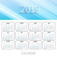 Projeto moderno do vetor do molde do calendário 2019