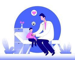 médico de família verificando o vetor de conceito de ilustração de batimento cardíaco
