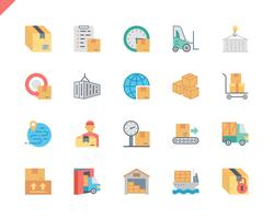 Simples conjunto pacote entrega plana ícones para site e aplicativos móveis. 48x48 Pixel Perfeito. Ilustração vetorial.