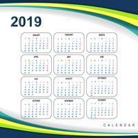 Resumo calendário colorido 2019 modelo onda design vetor