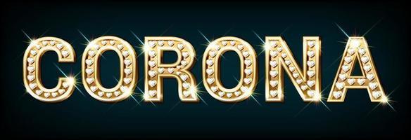 palavra corona feita de letras douradas com diamantes em forma de coração. vetor