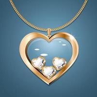 colar com pingente de coração em uma corrente de ouro. com três diamantes em forma de coração em ouro. decoração para mulheres. vetor