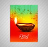 Cartaz com um diya para design de modelo de folheto colorido diwali