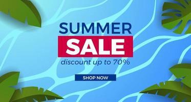 promoção de banner de oferta de venda de verão com ilustração de água do mar oceano com moldura de folhas tropicais vetor
