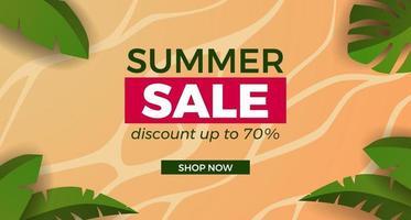 promoção de banner de oferta de venda de verão com ilustração de praia de areia com moldura de folhas tropicais vetor