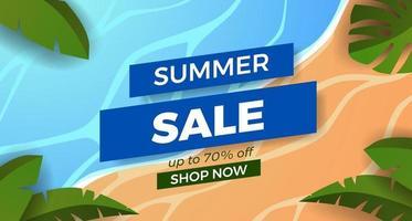 promoção de banner de oferta de venda de verão com ilustração de costa de praia de areia com moldura de folhas tropicais vetor