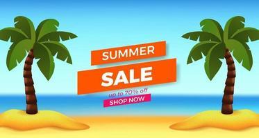 promoção de banner de oferta de venda de verão com ilustração de vista da praia de areia com coqueiro vetor