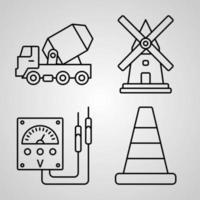 ícones de construção de contorno isolados no fundo branco vetor