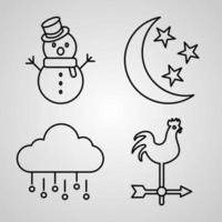 coleção de símbolos meteorológicos em estilo de contorno vetor