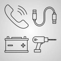 conjunto de ícones de linha de vetor de eletrônicos e dispositivos