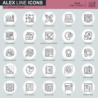Web fina linha e ícones de design gráfico definido para site e site móvel e apps. Contém ícones como Studio, desenvolvimento de aplicativos, retoques. 48x48 Pixel Perfeito. Curso editável. Ilustração vetorial.