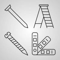 conjunto de ícones de design plano de linha fina de construção vetor