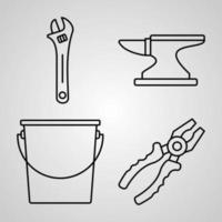 coleção de símbolos de construção em ícones de contorno de construção de fundo branco vetor