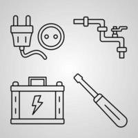 conjunto de ícones de linha de construção coleção de símbolo vetorial em estilo moderno de contorno vetor