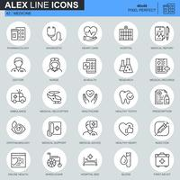 Cuidados de saúde de linha fina e ícones médicos para site, site móvel e apps. Contém ícones como Ambulância, Pesquisa, Hospital. 48x48 Pixel Perfeito. Curso editável. Ilustração vetorial.