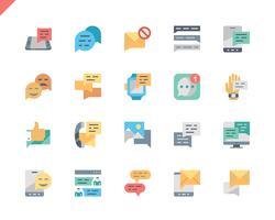 Simples conjunto de ícones plana de mensagem para o site e aplicativos móveis. 48x48 Pixel Perfeito. Ilustração vetorial.