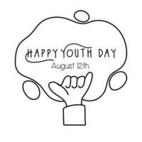 feliz dia da juventude letras com estilo de linha de símbolo de rock and roll de mão vetor