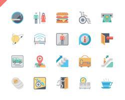 Ícones lisos da navegação pública ajustada simples para o Web site e Apps móveis. 48x48 Pixel Perfeito. Ilustração vetorial.