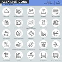 Serviços e instalações de hotel de linha fina, ícones de reserva on-line definidos para aplicativos de sites e sites móveis. Contém ícones como Recepção, Bar. 48x48 Pixel Perfeito. Curso editável. Ilustração vetorial.