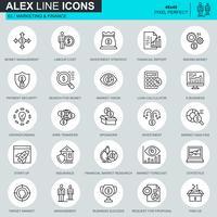 Os ícones finos do mercado e do financiamento da linha ajustaram-se para o Web site e local móvel e apps. Contém ícones como Crowdfunding, Market, E-business. 48x48 Pixel Perfeito. Curso editável. Ilustração vetorial.