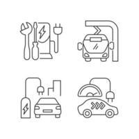 conjunto de ícones lineares de carregamento de veículos elétricos vetor