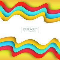 Fundo de onda colorida linda Papercut vetor