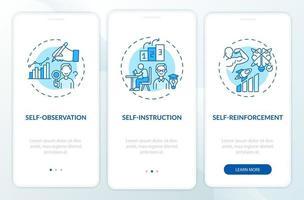 técnicas de autocontrole tela azul da página do aplicativo móvel com conceitos vetor