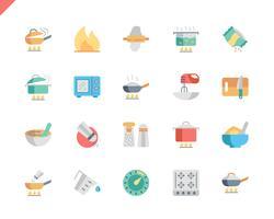 Conjunto simples cozinhar ícones planas para aplicativos móveis e site. 48x48 Pixel Perfeito. Ilustração vetorial. vetor