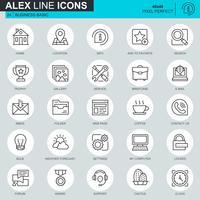 Ícones básicos de linha fina definida para site, site móvel e apps. Contém ícones como Local, Porta-arquivos, Lâmpada, Suporte, Negócios, Prêmio. 48x48 Pixel Perfeito. Curso editável. Ilustração vetorial.