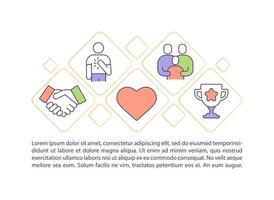 Ícones de linha de conceito de crescimento de valores pessoais com texto vetor