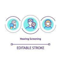 ícone do conceito de triagem auditiva vetor