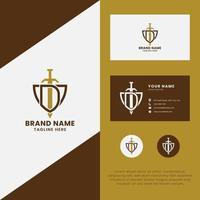 letra d e espada no logotipo do escudo com modelo de cartão de visita vetor