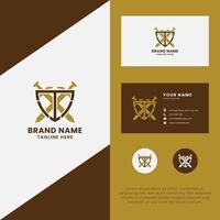 letra t e espada no logotipo do escudo com modelo de cartão de visita vetor