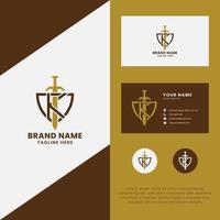 letra k e espada no logotipo do escudo com modelo de cartão de visita vetor