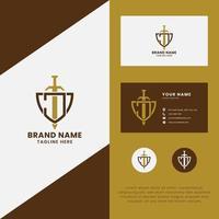 letra j e espada no logotipo do escudo com modelo de cartão de visita vetor