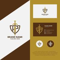 letra pe espada no logotipo do escudo com modelo de cartão de visita vetor