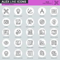 Ícones de ferramentas de desenho de linha fina definida para site, site móvel e apps. Contém ícones como Criativo, Desenvolvimento, Precisão, Visão. 48x48 Pixel Perfeito. Curso editável. Ilustração vetorial.