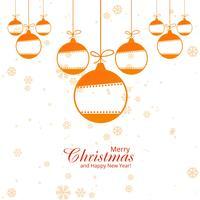 Feliz Natal cartão com flocos de neve bolas fundo vetor