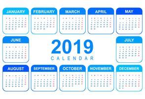 Design de modelo elegante 2019 calendário colorido vetor