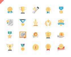 Conjunto simples prêmios ícones planas para aplicativos móveis e site. 48x48 Pixel Perfeito. Ilustração vetorial. vetor