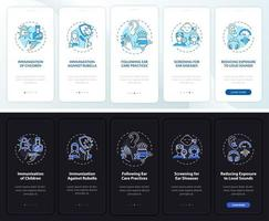 tela da página do aplicativo móvel para prevenção da surdez com conceitos vetor