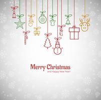 Lindo cartão de feliz Natal com flocos de neve backgrou vetor