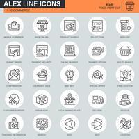 Linha fina de compras on-line e ícones de comércio eletrônico definido para site, site móvel e aplicativos. Contém ícones como Pagamento On-line, Suporte. 48x48 Pixel Perfeito. Curso editável. Ilustração vetorial.