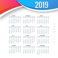 Modelo 2019 de calendário abstrato colorido com design de vetor de onda
