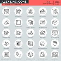Ícones de linha fina de compras e e-commerce definido para site, site móvel e apps. Contém ícones como Entrega, Pagamento, Loja, Comércio. 48x48 Pixel Perfeito. Curso editável. Ilustração vetorial.