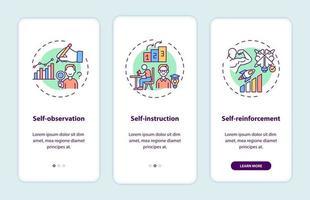 técnicas de autocontrole integrando a tela da página do aplicativo móvel com conceitos vetor