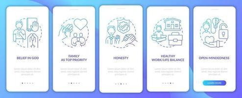 tela da página do aplicativo móvel de integração de ética pessoal com conceitos vetor