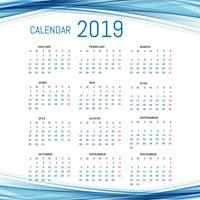 Modelo de calendário 2019 com fundo de onda vetor