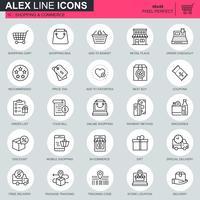 Linha fina de compras on-line e ícones de comércio eletrônico definido para site, site móvel e aplicativos. Contém ícones como cesta, entrega, preço. 48x48 Pixel Perfeito. Curso editável. Ilustração vetorial.